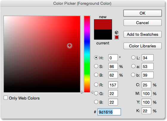 Choosing red for the new Foreground color from the Color Picker.