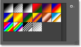 The Gradient Picker showing the default gradients.