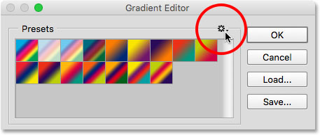 Clicking the gear icon in the Gradient Editor.