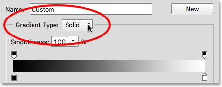 The Gradient Type option in the Gradient Editor.