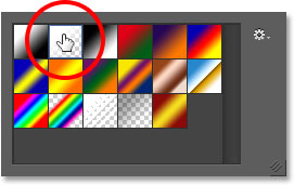 Selecting the Foreground to Transparent gradient.