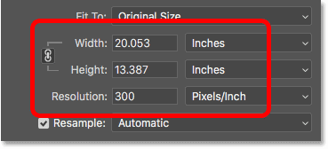 Photoshop's Image Size dialog box showing the print size based on the current resolution