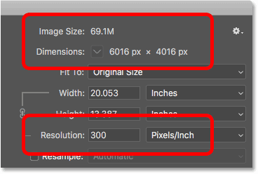 The current image size and resolution in Photoshop's Image Size dialog box