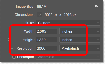 Increasing the image resolution again changed the print size but not the file size