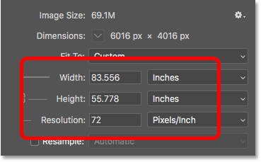 Lowering the image resolution did increase the print size of the image