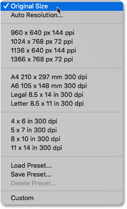 The Fit To preset image sizes in the Image Size dialog box in Photoshop