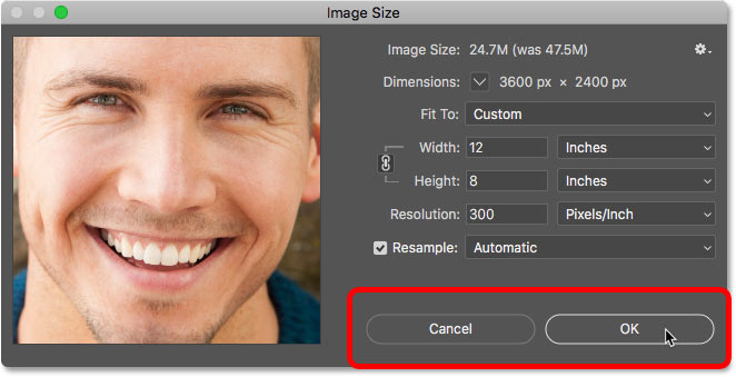 How to accept or cancel the image size settings in Photoshop