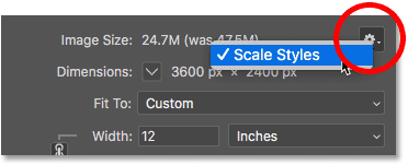 How to scale layer styles (effects) when resizing images in Photoshop