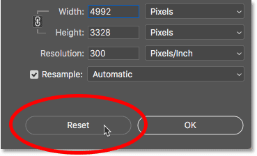 How to reset the Image Size dialog box in Photoshop