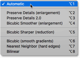 The interpolation methods in the Image Size dialog box in Photoshop