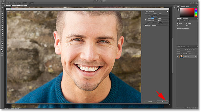 How to resize the Image Size dialog box in Photoshop