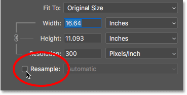 Turning the Resample option off in Photoshop's Image Size dialog box