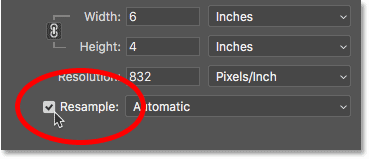 Turning the Resample option on in Photoshop's Image Size dialog box