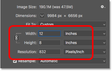 Upsampling the image in Photoshop by increasing the Width and Height