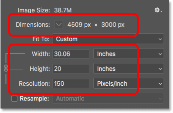 Lowering the image resolution increases the print size in the Image Size dialog box in Photoshop