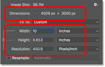 Changing the width and height of the image changes the print resolution