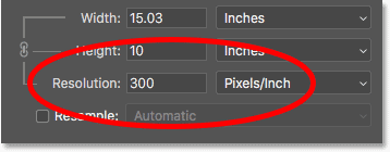 The current image resolution in the Image Size dialog box in Photoshop