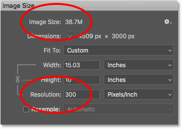 Increasing the print resolution in the Image Size dialog box has no effect on the image file size
