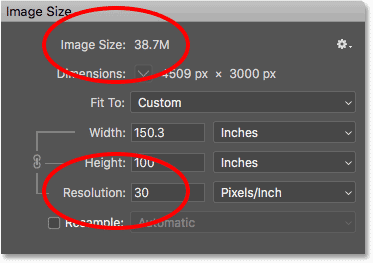 Lowering the print resolution in the Image Size dialog box has no effect on the image file size