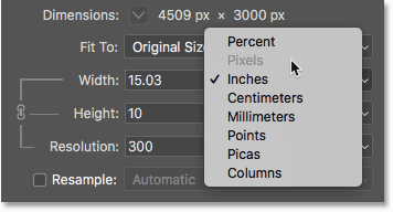Turning Resample off prevents us from adding or removing pixels in the Image Size dialog box in Photoshop