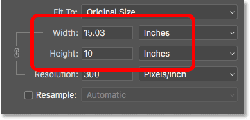 The Width and Height of the image is now shown in inches instead of pixels after turnin Resample off.