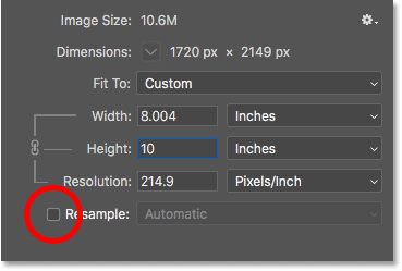 Unchecking Resample, entering the new Width and Height for the print size, and then checking the Resolution in the Image Size dialog box