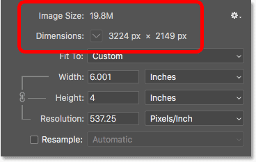 The pixel dimensions and file size are not affected by the change in print size