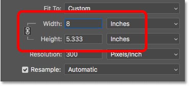 A height of 8 inches sets the width to 12 inches