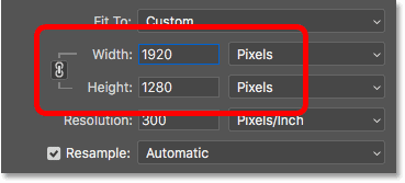 Changing the pixel width and height in the Image Size dialog box in Photoshop