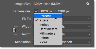 Changing the image dimensions measurement type to Percent in the Image Size dialog box
