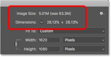 The image size after downsampling the image for email and the web in Photoshop