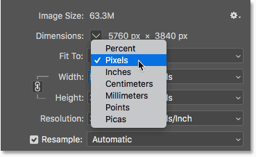 Choosing Pixels as the measurement type for the image dimensions in the Image Size dialog box