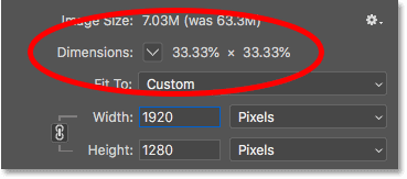 Viewing the new image dimensions as a percentage of the original size in the Image Size dialog box in Photoshop