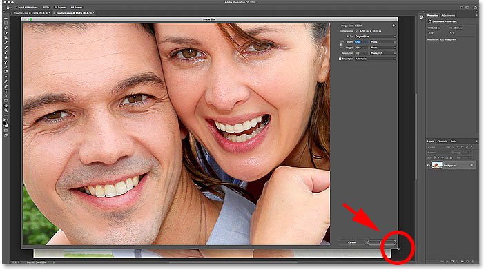 Resizing the Image Size dialog box in Photoshop CC
