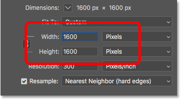 Entering the new width and height for the pixel art in the Image Size dialog box in Photoshop