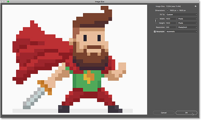 How to resize pixel art to an exact size in Photoshop