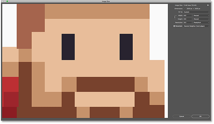 The upsampled pixel art looks great using the Nearest Neighbor interpolation method in Photoshop