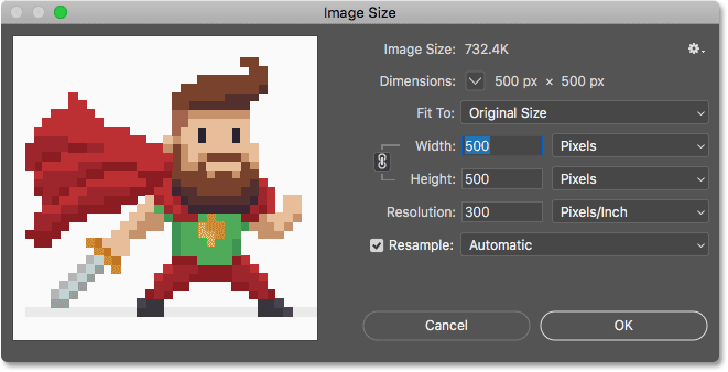 The pixel art open in the Image Size dialog box in Photoshop CC