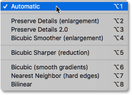 The image interpolation methods in Photoshop's Image Size dialog box
