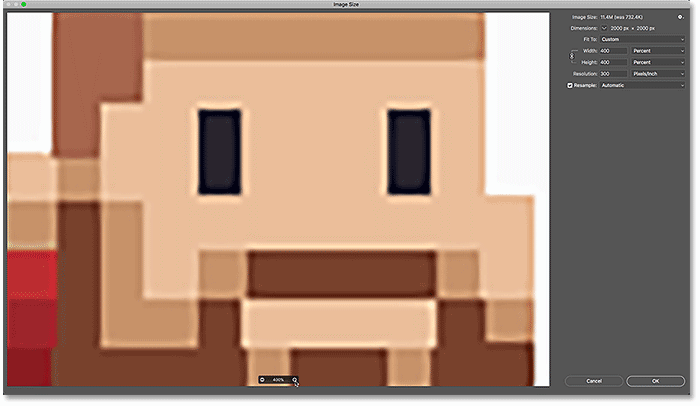 The pixel art looks soft and blurry when you release your mouse button