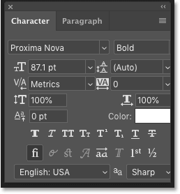 The Character panel in Photoshop CC 2019