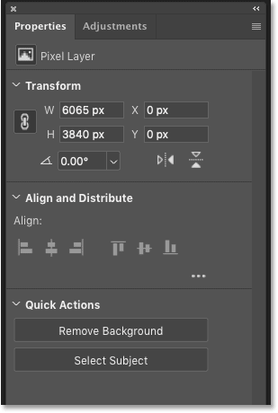 The Pixel Layer Properties in the Properties panel in Photoshop CC 2019