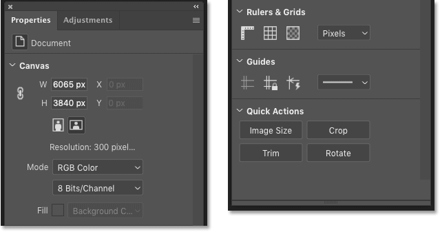 The Document Properties in the Properties panel in Photoshop CC 2020