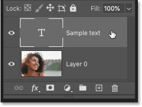 Selecting the type layer in Photoshop's Layers panel