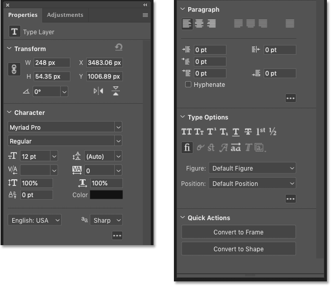 The Type Layers Properties in the Properties panel in Photoshop CC 2020