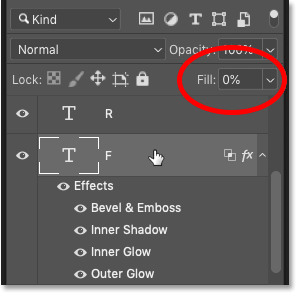 Photoshop's Layers panel showing the layer's Fill value at 0 percent