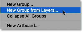 Choosing the New Group from Layers command in Photoshop