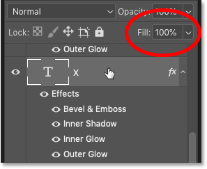 Photoshop's Layers panel showing the layer's Fill value at 100 percent