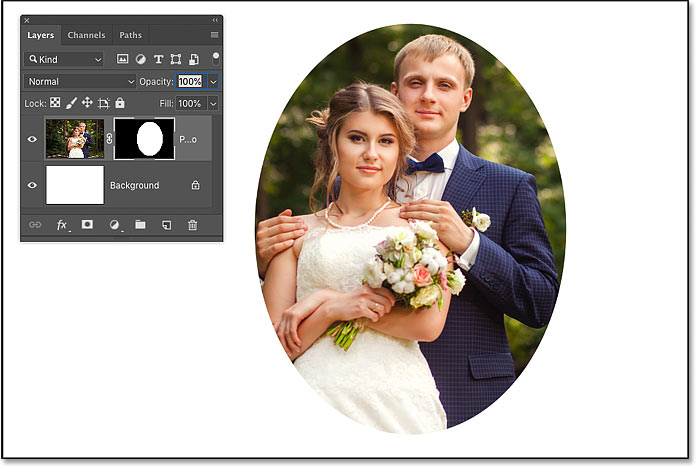 An initial layer mask around the subject of the photo in Photoshop