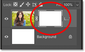 Photoshop's Layers panel showing the white layer mask thumbnail